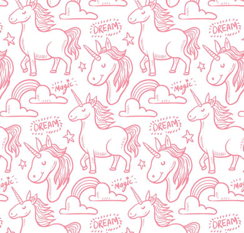 Pink Unicorn Magic Seamless Background Vector