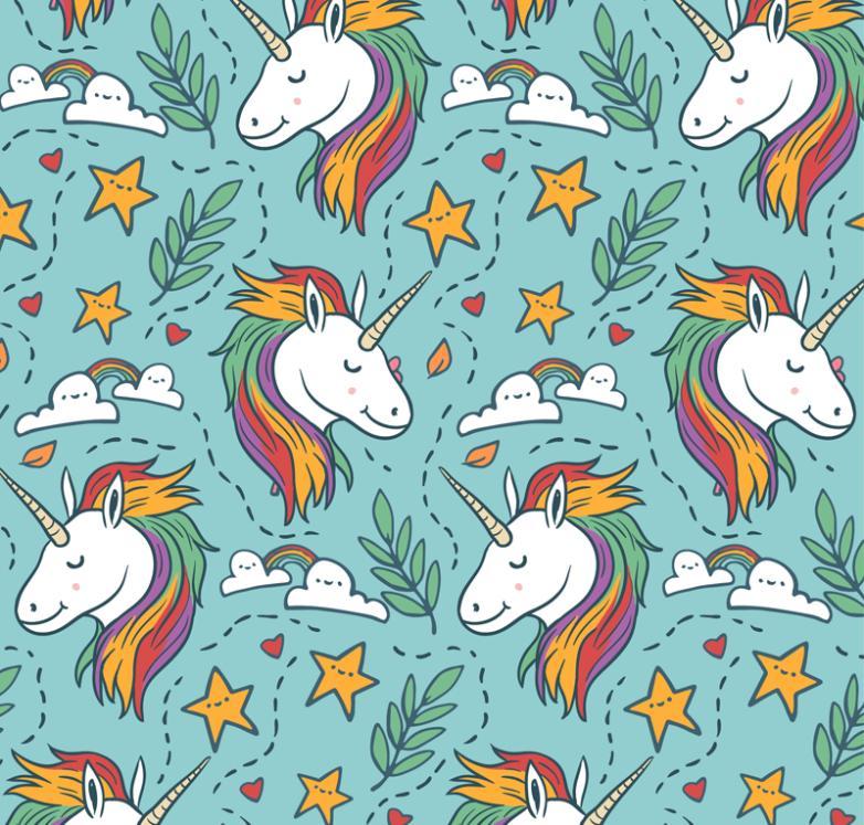 Seamless Background Color Unicorn Head Vector