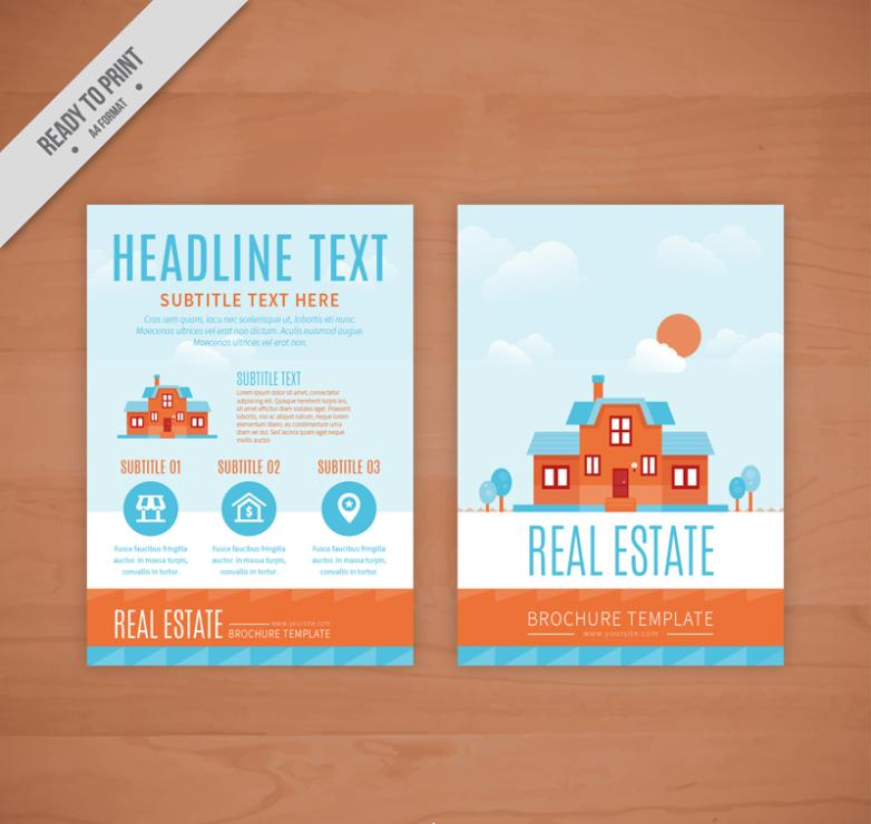 Red House Property Flyer Vector