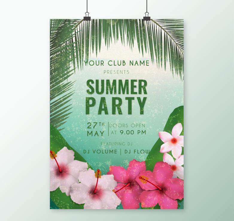 Summer Tropical Flowers Party Posters Vector