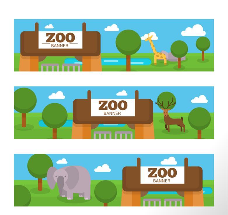 Three Cartoon Zoo Banner Vector