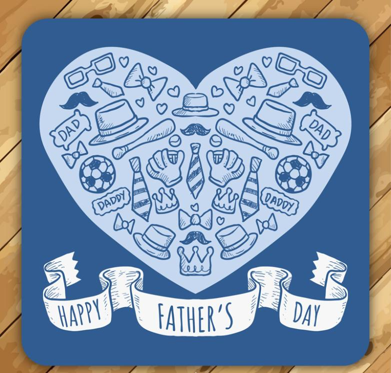 Father's Day Cards Elements, Blue Vector