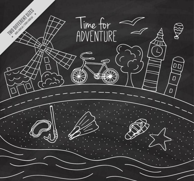 The Blackboard Draw Creative Bike Travel Vector
