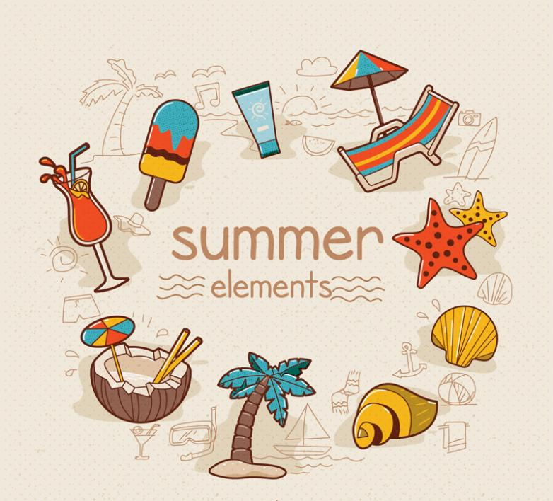 9 Color Elements Of A Summer Vacation Vector