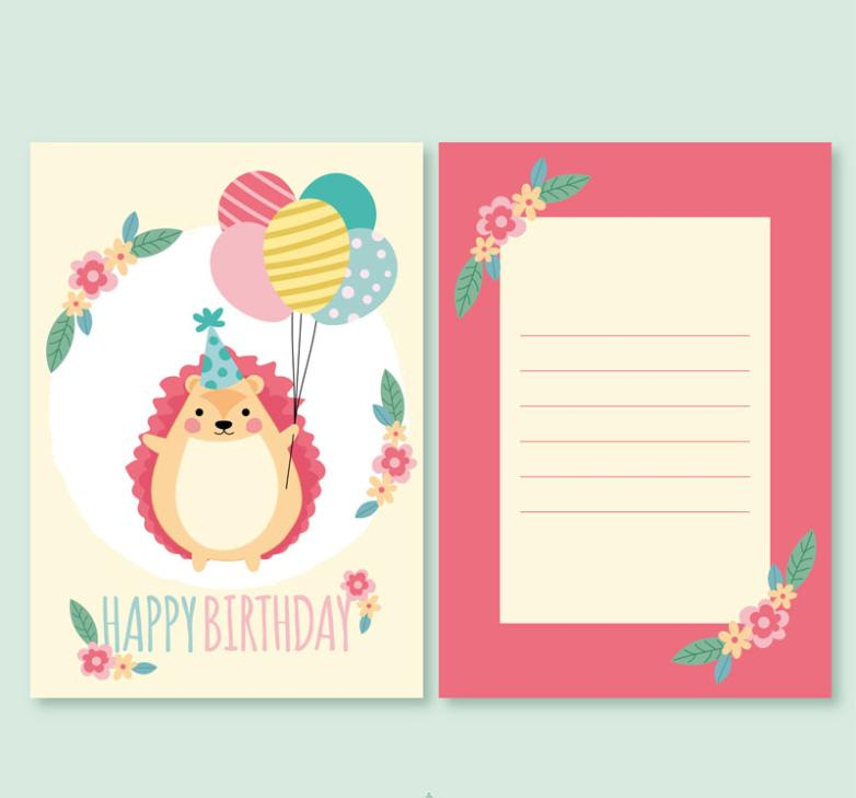 The Front Side Of Card Cartoon Hedgehog Birthday Wishes Vector