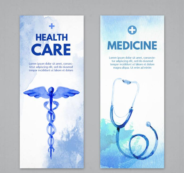 Two Blue Coloured Drawing Or Pattern Medical Banner Vector