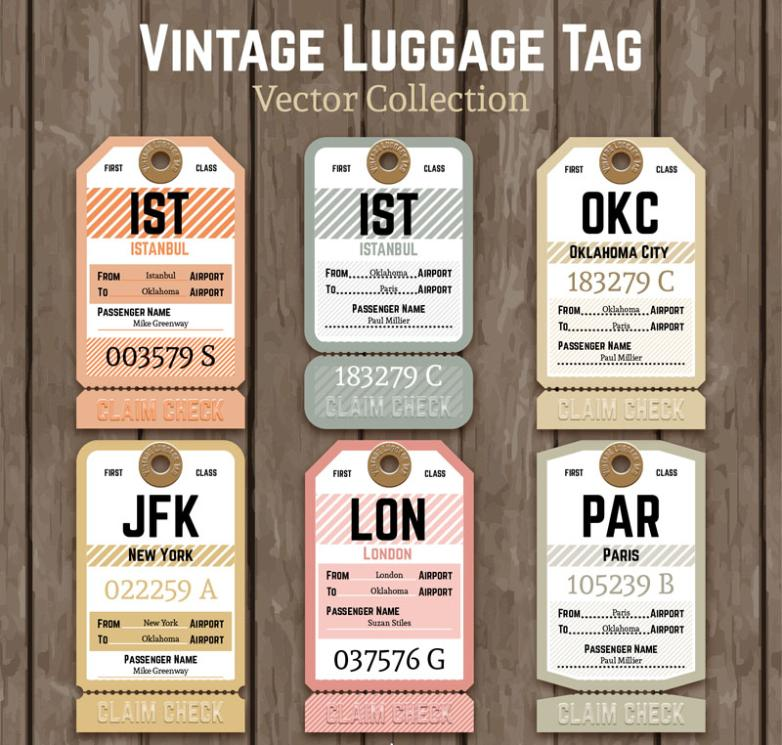 Six Paper Luggage Tag Design Restoring Ancient Ways Vector
