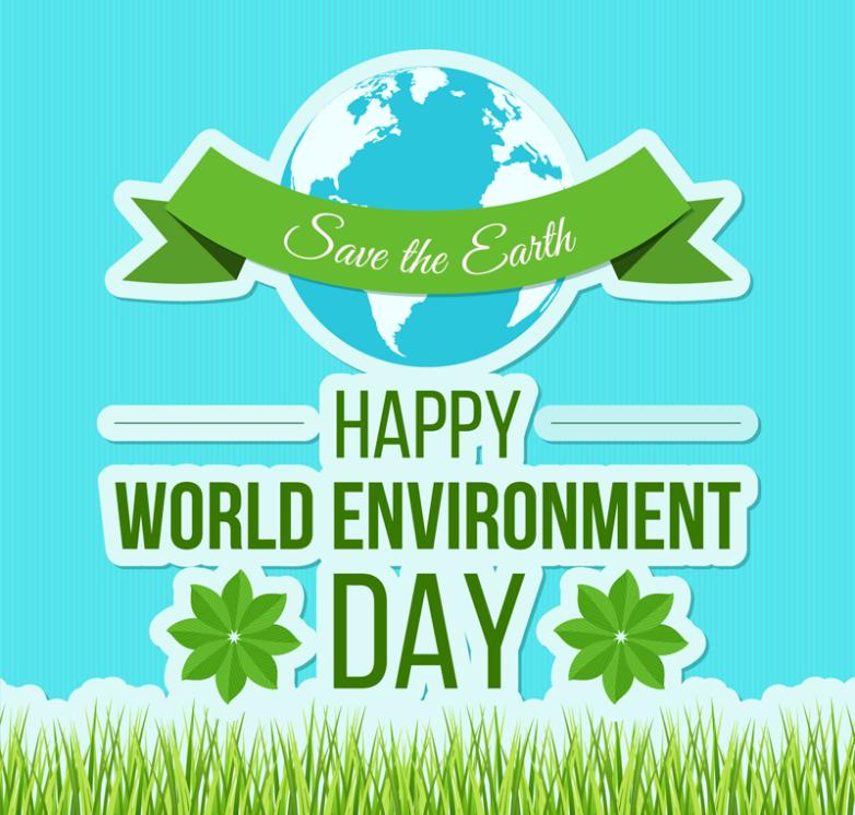 World Environment Day Greeting Card Blue Earth And The Green Grass Vector