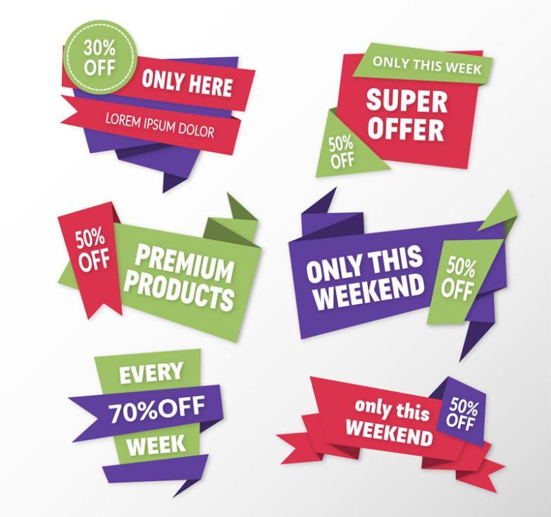 Six Color On Sale Promotion Label Vector