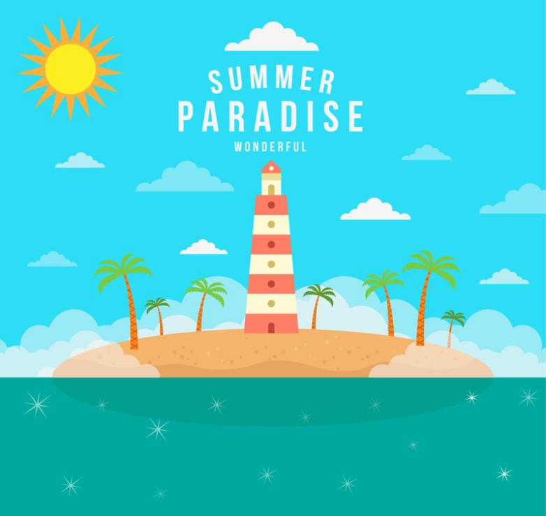 The Summer Vacation Paradise Lighthouse And Coconut Illustrations Vector