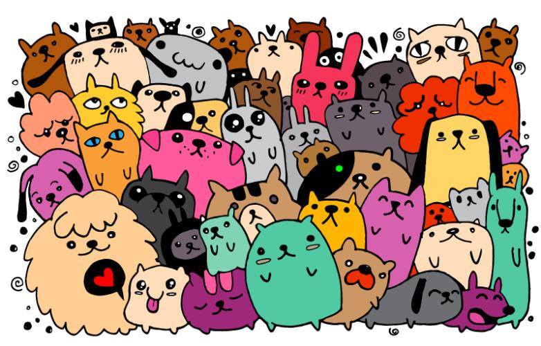 A Group Of Cartoon Dog And Cat And A Rabbit Vector