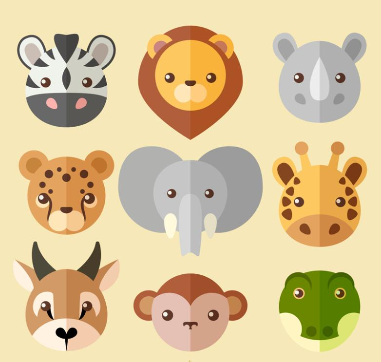 Nine New Creative Flattening Of Wild Animals Head Vector