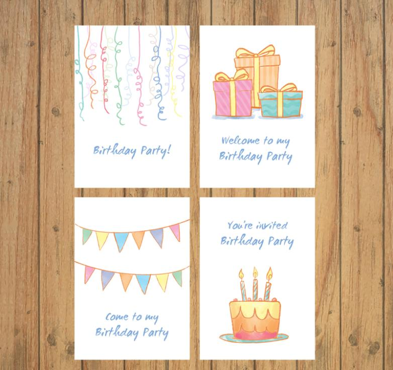 4 Coloured Drawing Or Pattern Birthday Party Invitation Card
