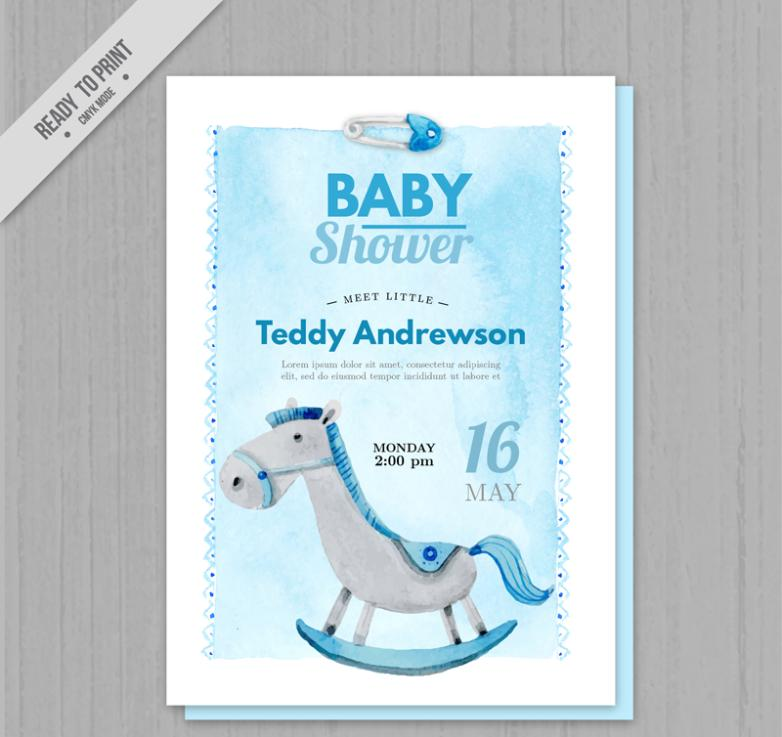 Water Painted Toys Trojan Baby Showers Party Invitation Card Vector
