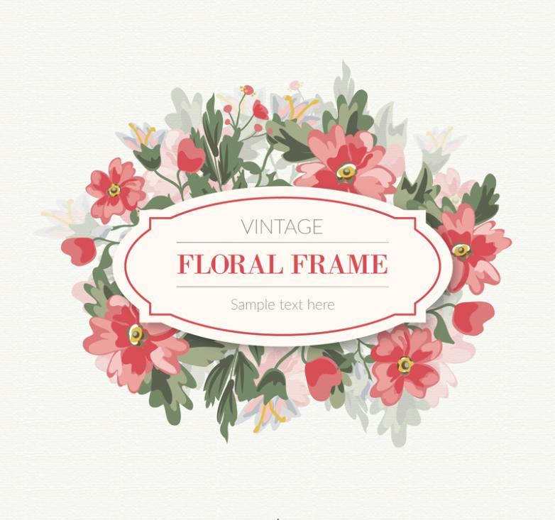 Retro Red Flowers Framework Vector