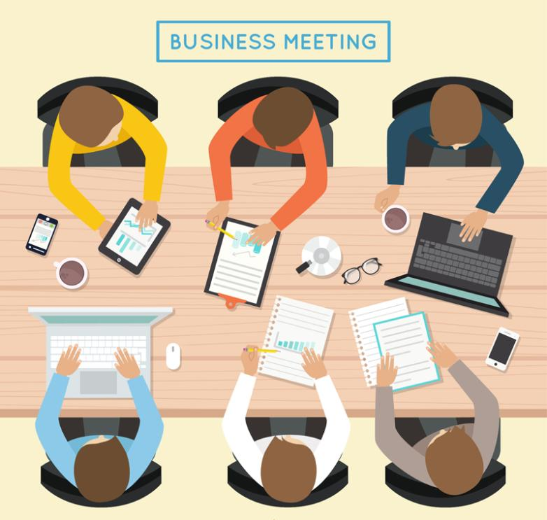 Vertical View Business Office Meeting Six Characters Vector