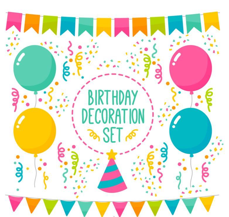 7 Colour Birthday Party Decorations Vector