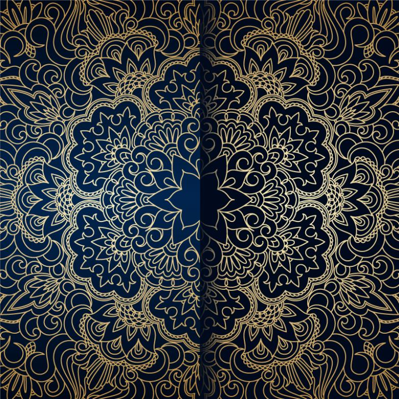 Golden Pattern Blue Bottom Heavy And Complicated Background Vector