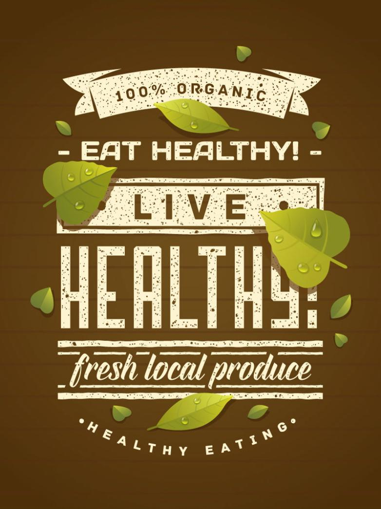 Healthy Organic Food Posters Vector