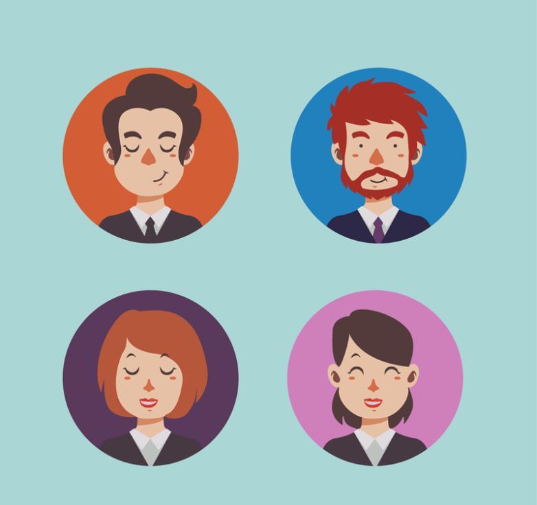 4 Cartoon Business Avatars Vector