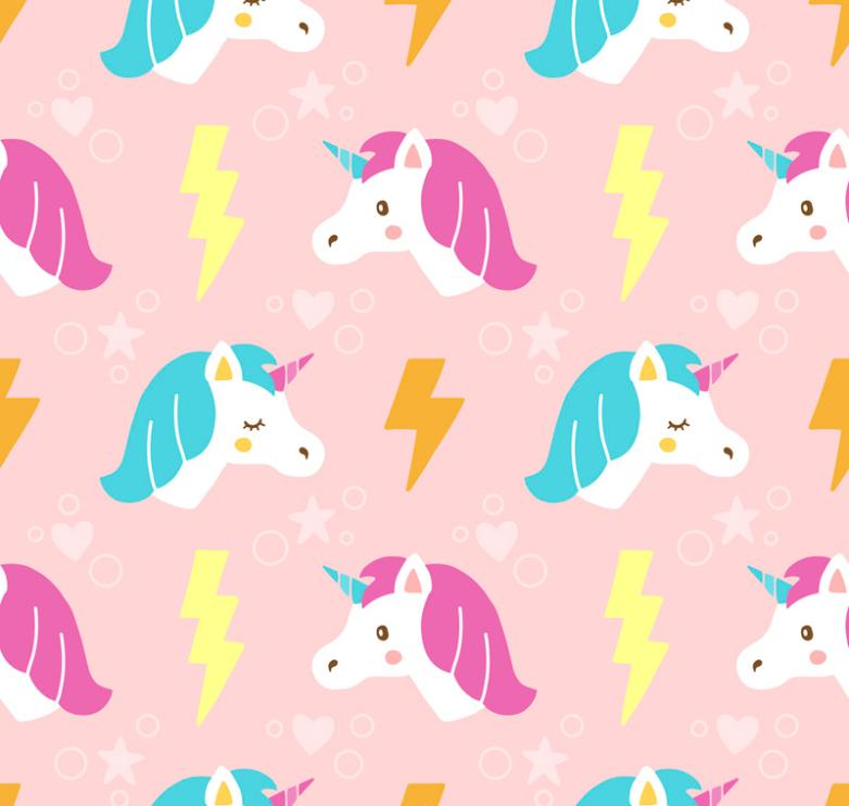 Cartoon Unicorn Head Seamless Background Vector