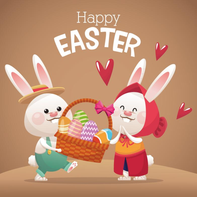 Two Lovable Cartoon The Easter Bunny Vector