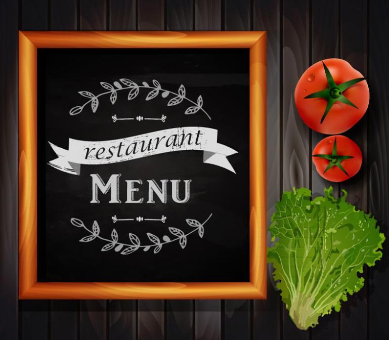 Fresh Vegetables And The Blackboard Menu Vector