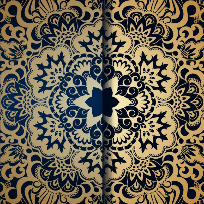 Beautiful Golden Symmetric Pattern Background Vector