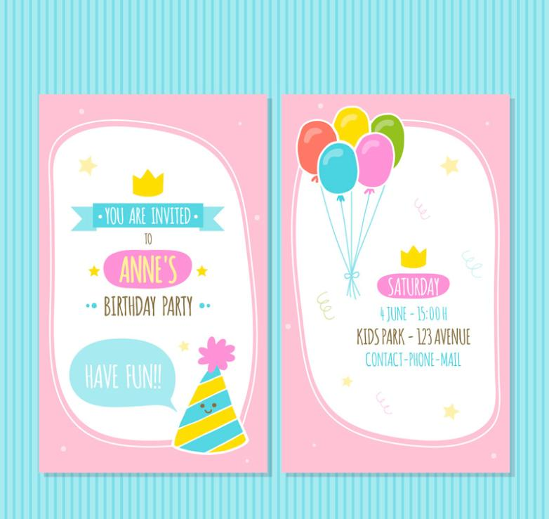 Positive And Negative Pink Birthday Party Invitation Vector