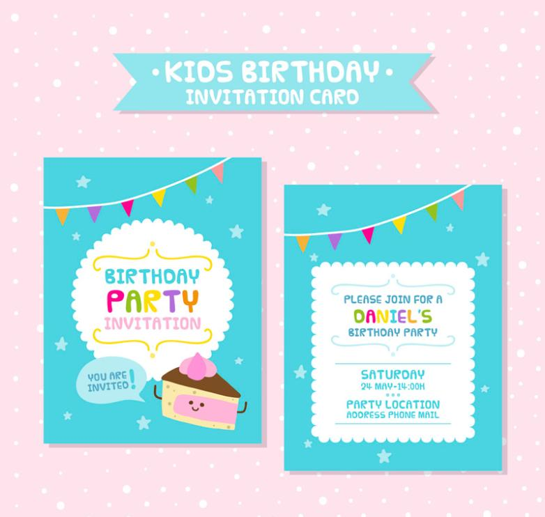 Positive And Negative Blue Children's Birthday Party Invitation Vector