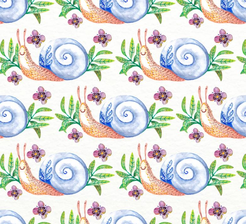 Water Snail Seamless Background Coloured Drawing Or Pattern Vector