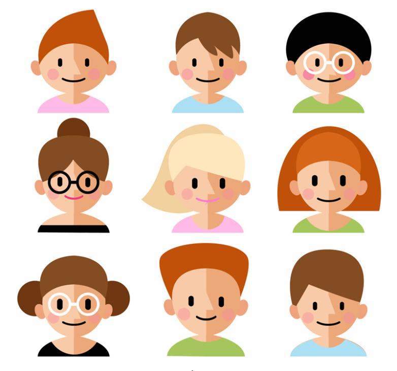 Nine New Cute Pointed Nose Avatars Vector