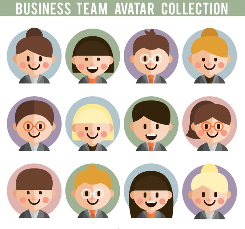 12 Business Team Player Portrait Cute Smile Vector