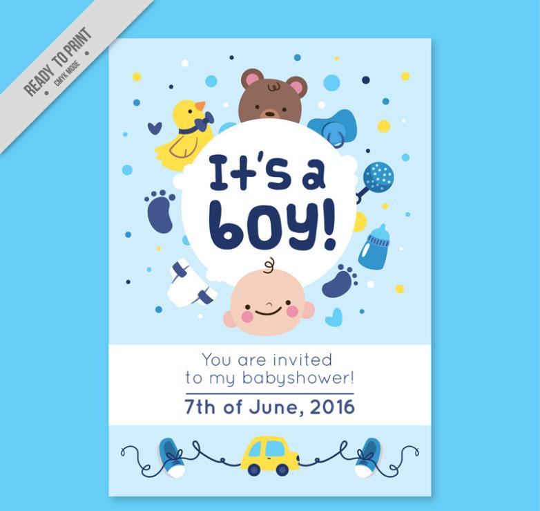 Lovely Light Blue Baby Showers Party Invitation Card Vector