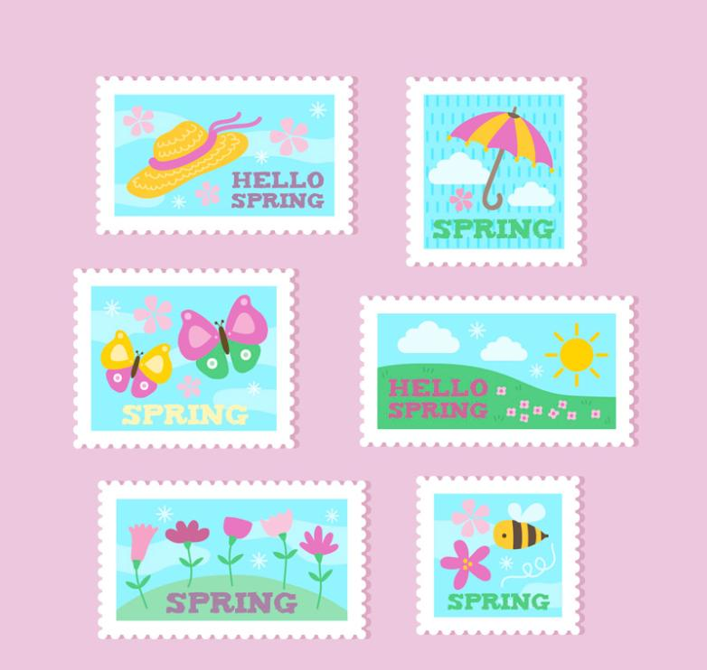 Six Color Spring Stamps Vector