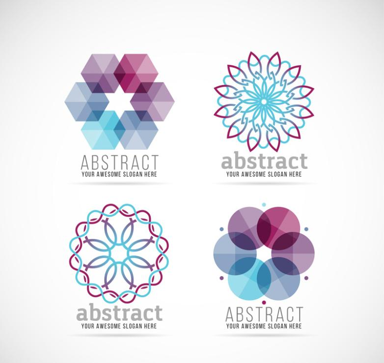 4 Abstract Flower Business Vector