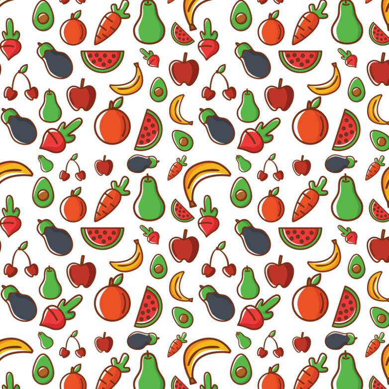 Seamless Background Color Of Fruits And Vegetables Vector
