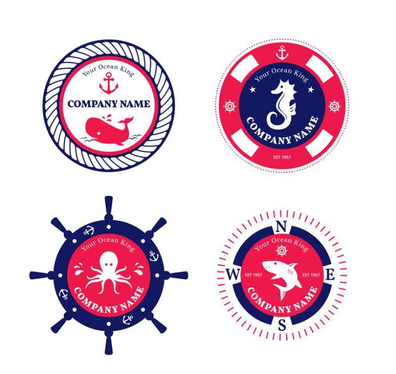 4 Navigation Elements Company Logo Vector