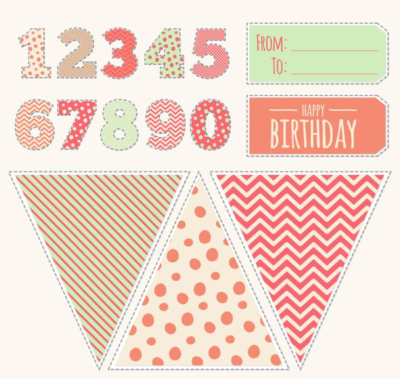 Color Digital Birthday And Stickers Vector
