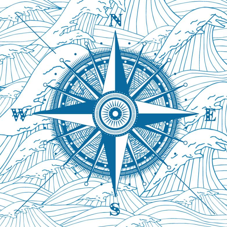 Coloured Drawing Or Pattern The Compass And Restoring Ancient Ways With The Waves Vector