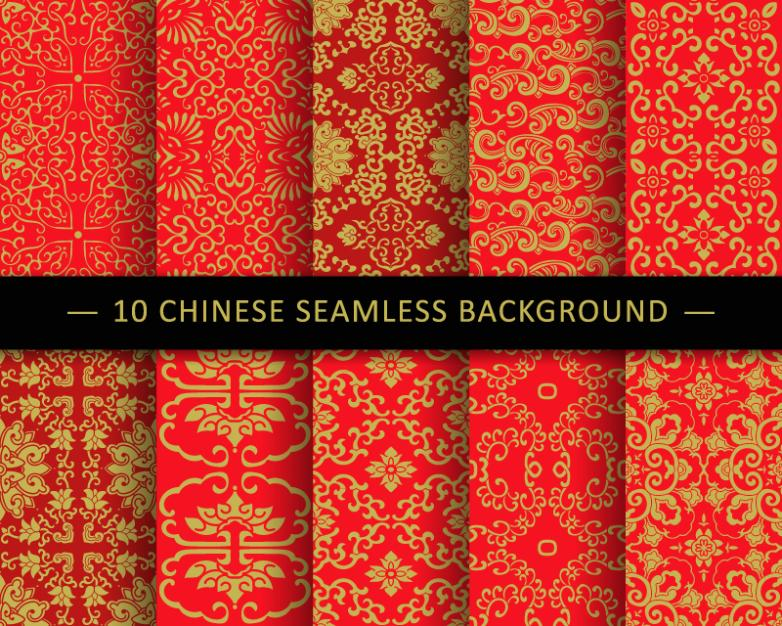Ten Red China Seamless Background Wind Patterns Vector