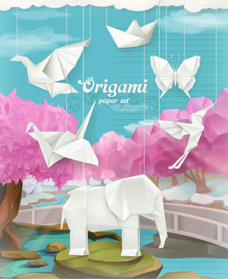 5 Creative Origami Animal Illustrations Vector