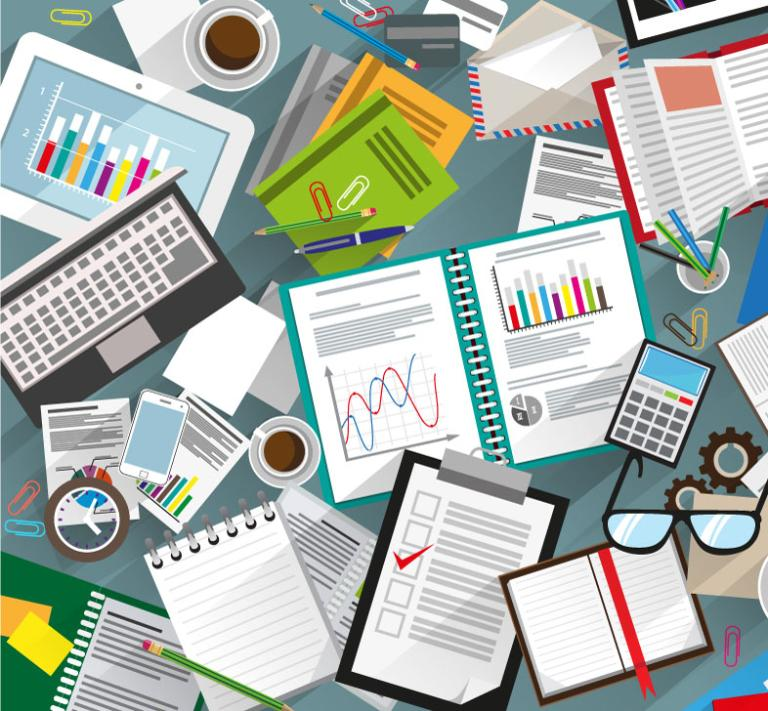 Desk Covered With Files And Stationery Vector