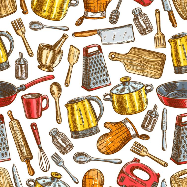 Painting The Kitchen Supplies Seamless Background Vector