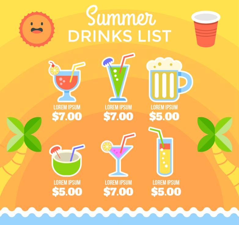 Cartoon Summer Drink Wine List Vector