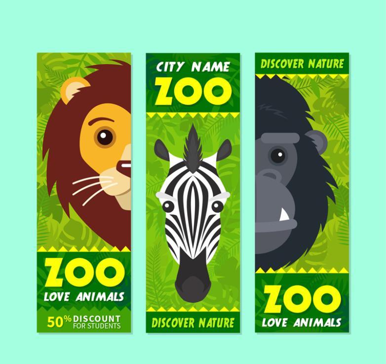 The Lion Zebra Orangutan 3 Discount Banner Zoo Vector