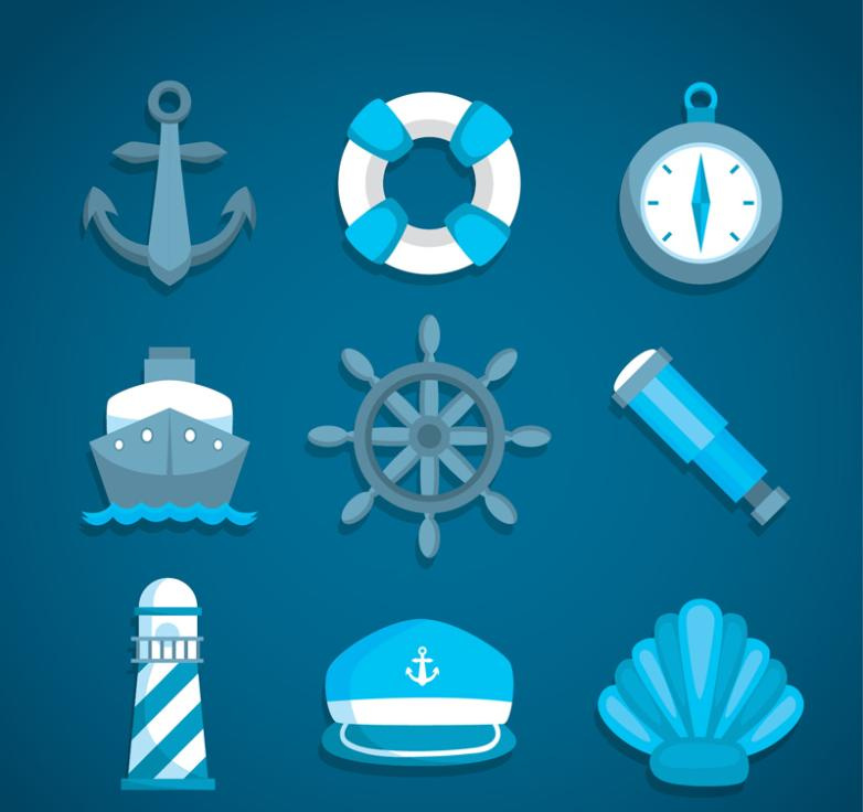 Nine New Blue Delicate Navigation Icons Vector
