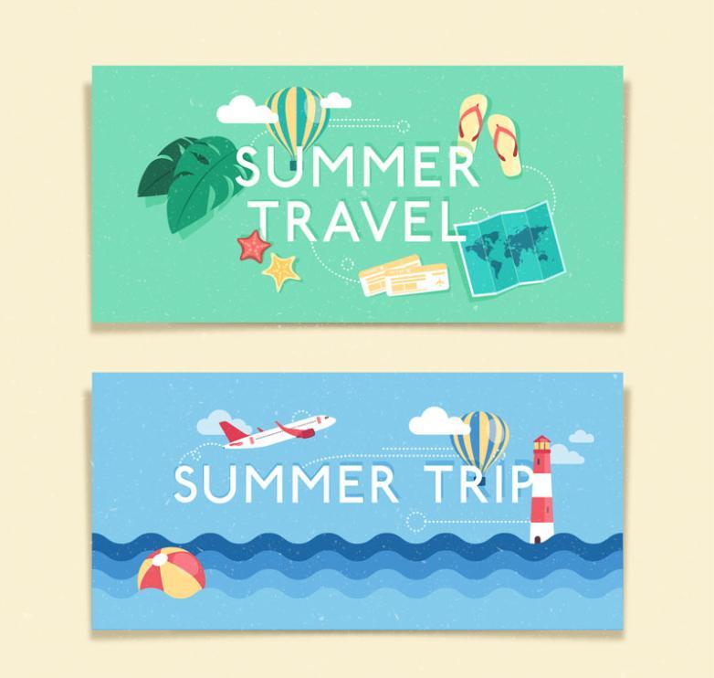 Summer Two Banner Design Vector