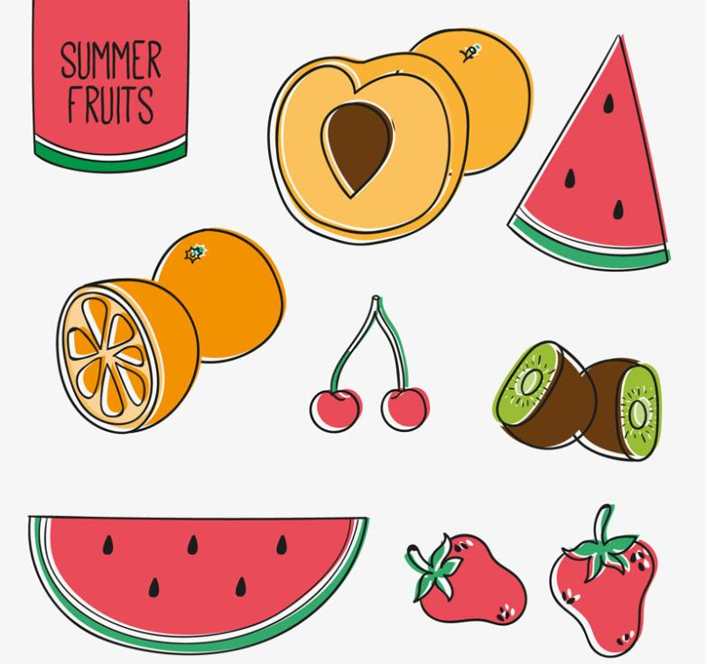 Seven New Painted Fruit In Summer Vector