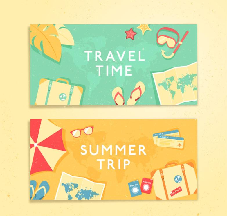 Two Summer Travel Banner Vector